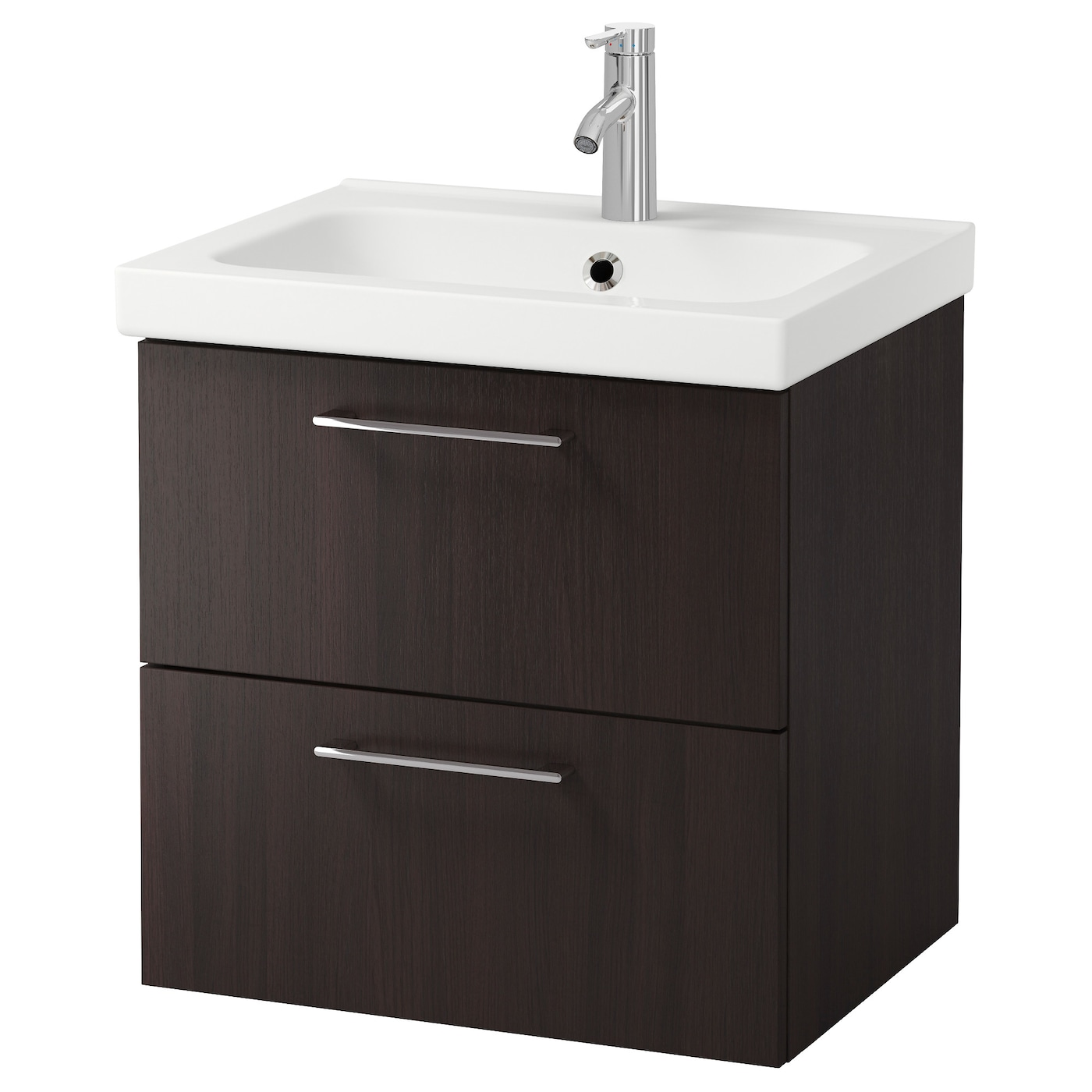 Odensvik godmorgon wash stand with 2 drawers black brown for Meubles salle de bain ikea godmorgon