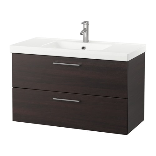 odensvik godmorgon wash stand with 2 drawers black brown 103 x 49 x 64 cm ikea. Black Bedroom Furniture Sets. Home Design Ideas