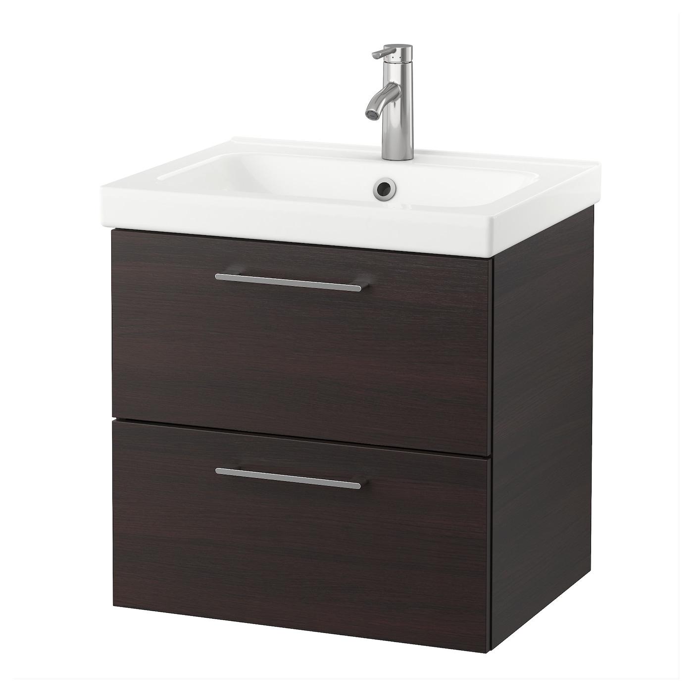 odensvik godmorgon wash stand with 2 drawers black brown 60x49x64 cm ikea. Black Bedroom Furniture Sets. Home Design Ideas