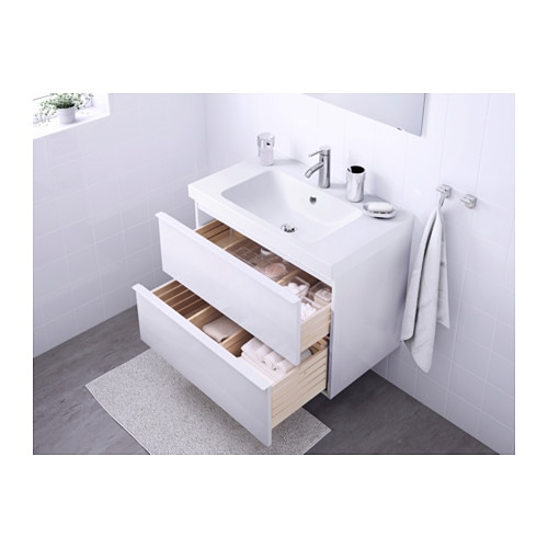 odensvik godmorgon wash stand with 2 drawers high gloss white 80x49x64 cm ikea. Black Bedroom Furniture Sets. Home Design Ideas