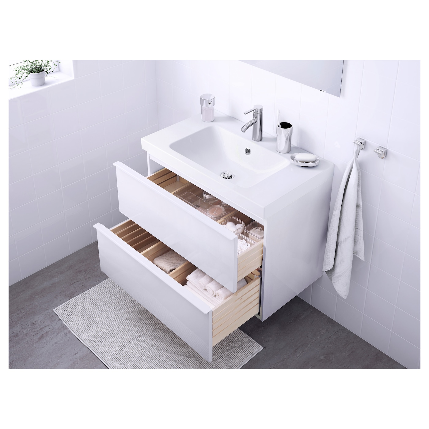odensvik godmorgon wash stand with 2 drawers high gloss white 83 x 49 x 64 cm ikea. Black Bedroom Furniture Sets. Home Design Ideas