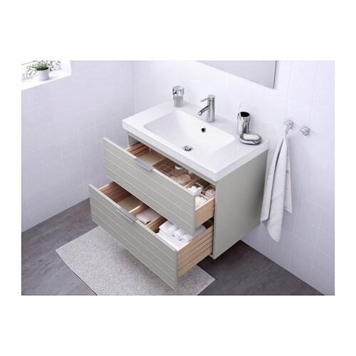 Odensvik godmorgon wash stand with 2 drawers light grey - Ikea mobili bagno godmorgon ...