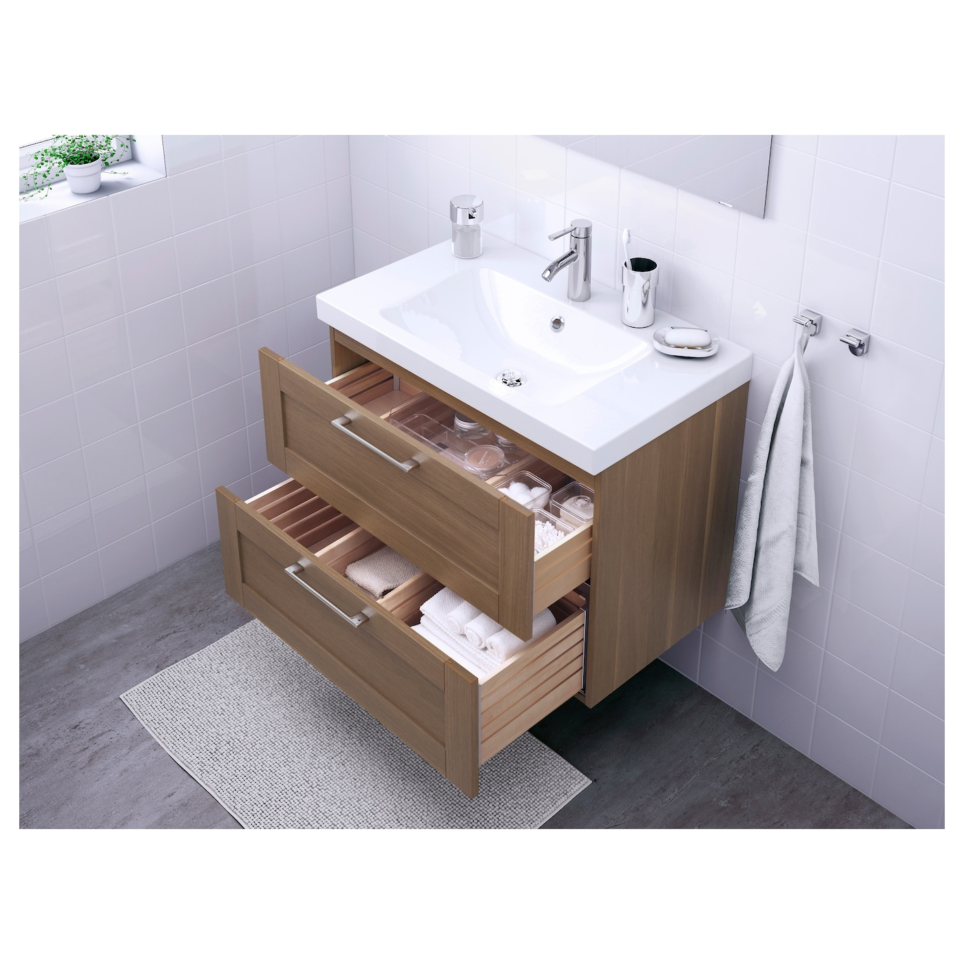 odensvik godmorgon wash stand with 2 drawers walnut effect 80x49x64 cm ikea. Black Bedroom Furniture Sets. Home Design Ideas