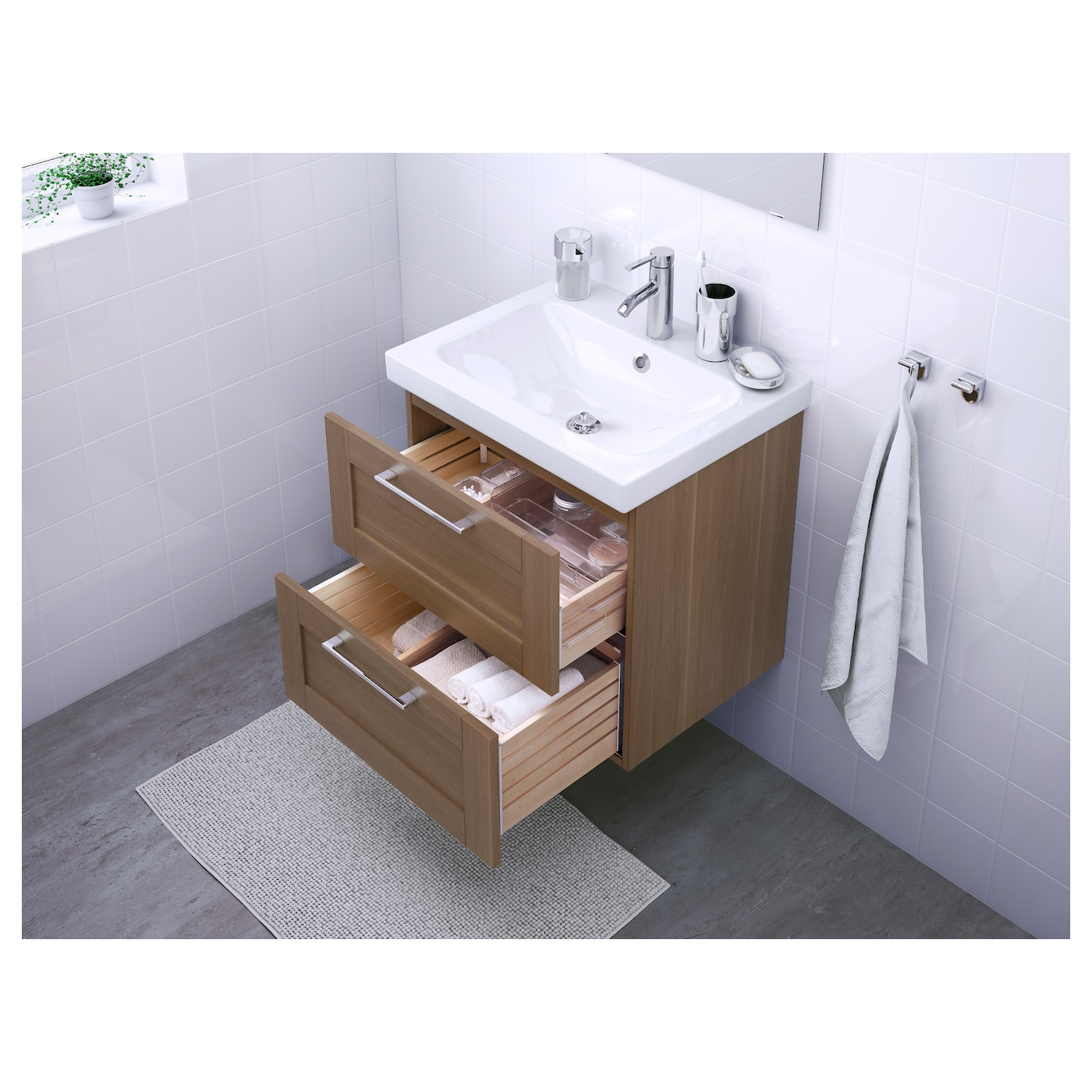 Odensvik godmorgon wash stand with 2 drawers walnut effect for Meubles salle de bain ikea godmorgon