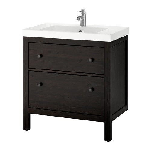 ODENSVIKHEMNES Wash stand With 2 Drawers Black brown