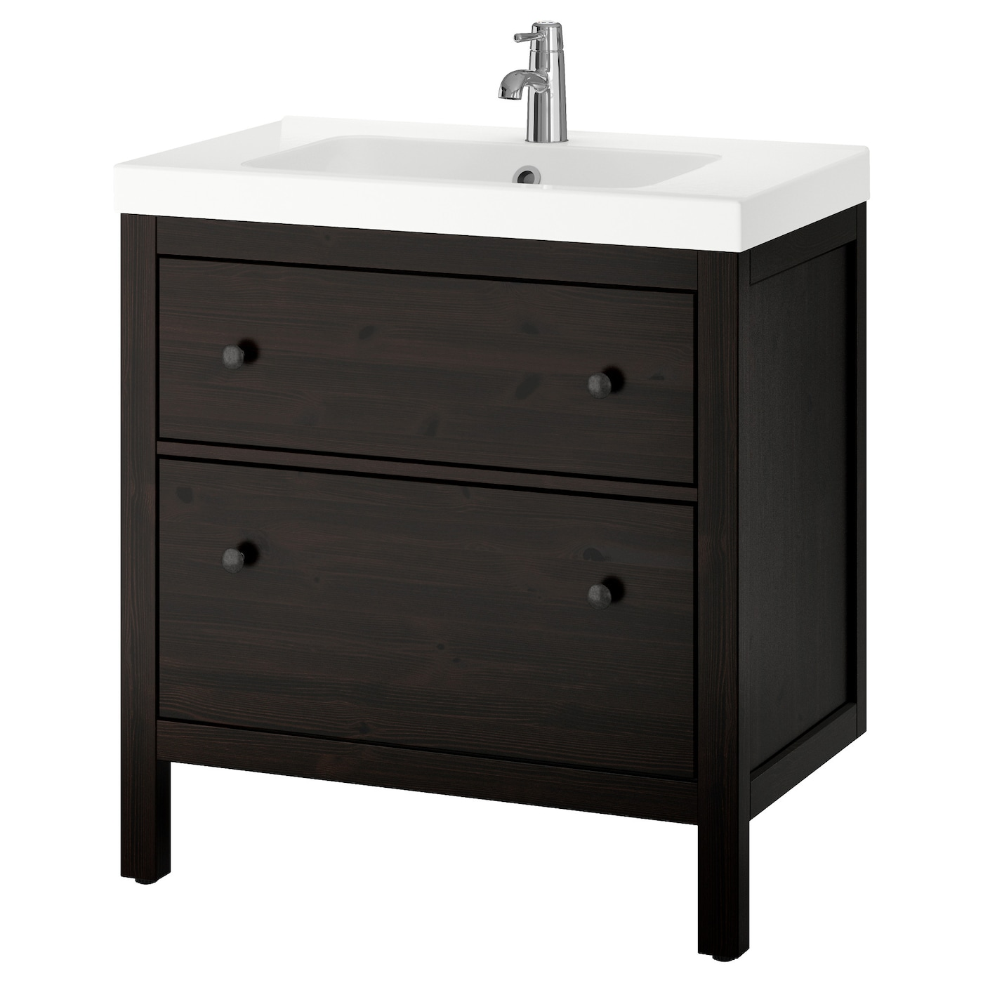 odensvik hemnes wash stand with 2 drawers black brown stain 80x49x89 cm ikea. Black Bedroom Furniture Sets. Home Design Ideas