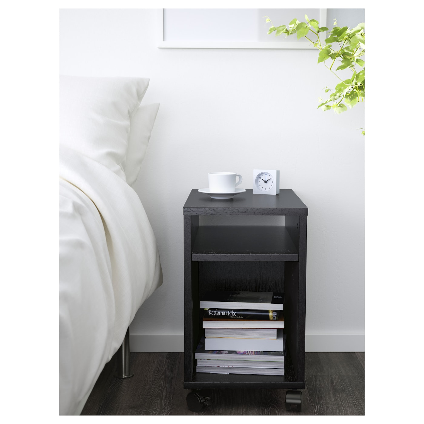 oltedal bedside table black-brown 32x50 cm - ikea