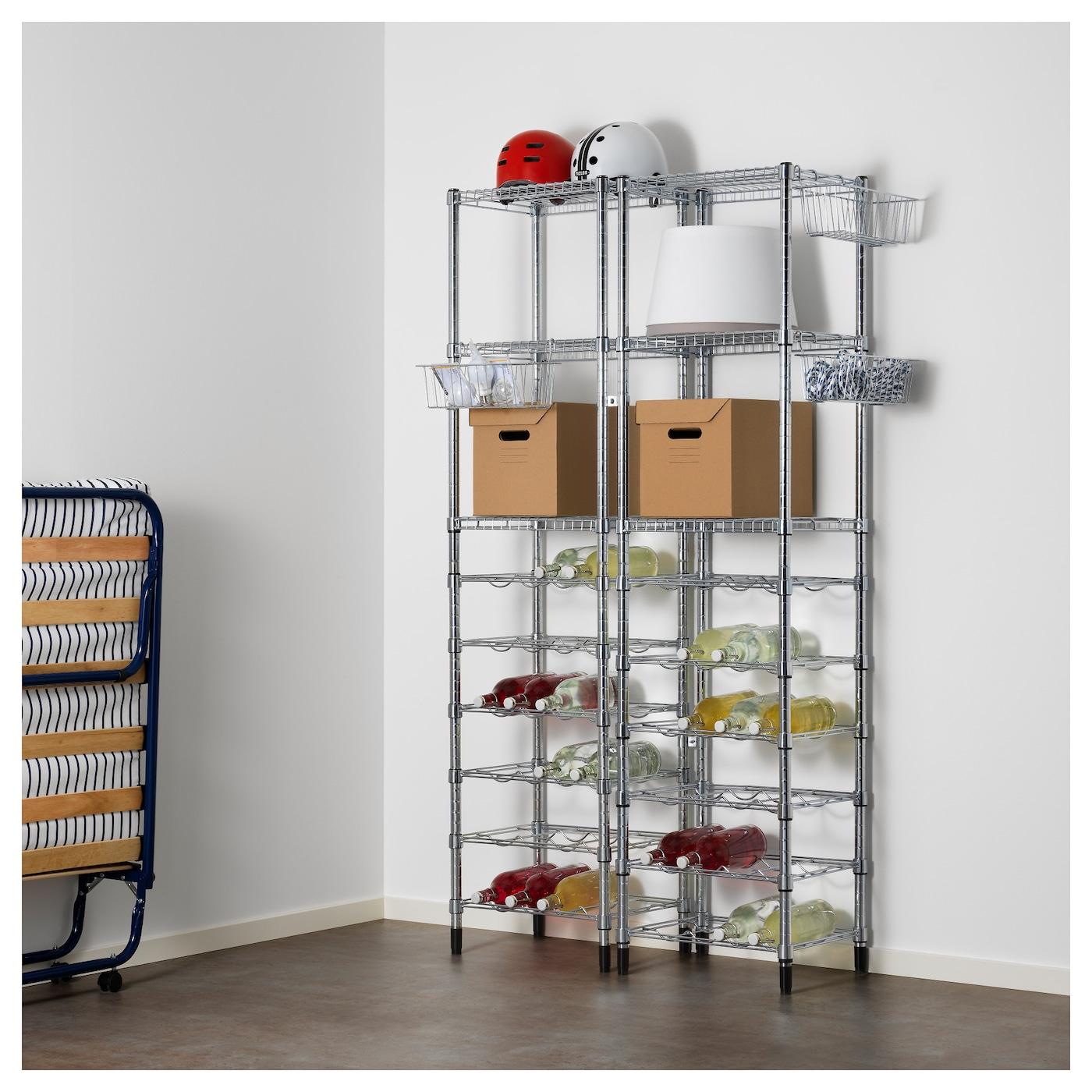 Pantry Storage Shelving Units Small Metal Shelving Unit: OMAR 2 Shelf Sections 107x36x181 Cm