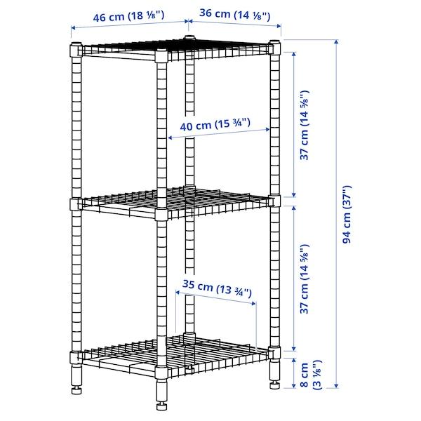 OMAR Shelving unit, galvanised, 46x36x94 cm