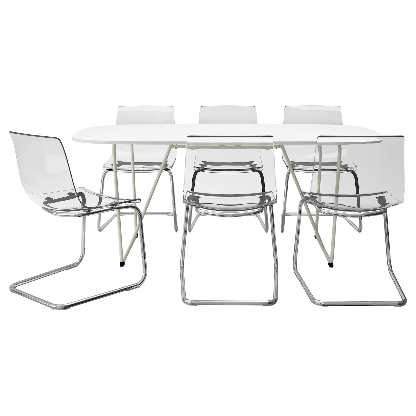 Oppeby backaryd tobias table and 6 chairs white chrome for High table and chairs ikea