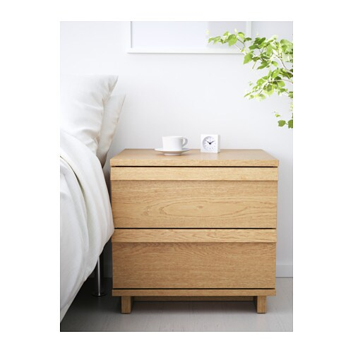 OPPLAND Chest of 2 drawers Oak veneer 60×57 cm  IKEA