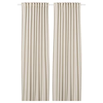 ORDENSFLY Curtains, 1 pair, white/beige, 145x250 cm