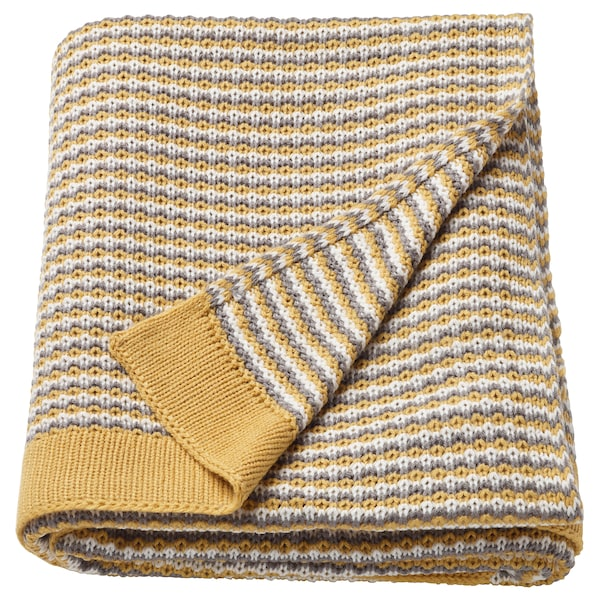 ORMHASSEL Throw, yellow/grey, 120x180 cm