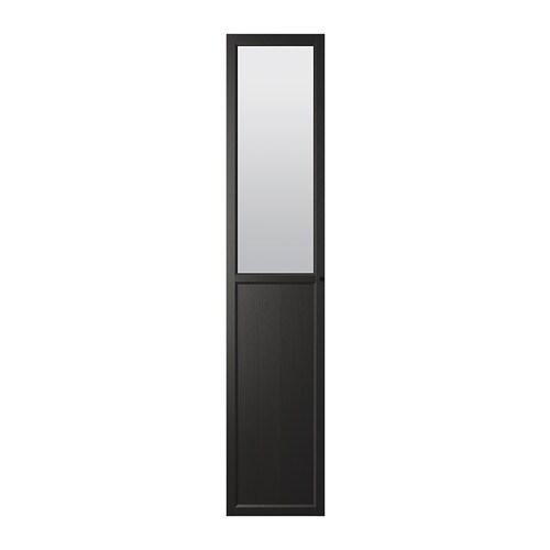 Oxberg panel glass door black brown ikea - Ikea billy porte vitree ...