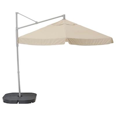 OXNÖ / VÅRHOLMEN parasol, hanging with base grey beige/Svartö dark grey 250 g/m² 265 cm 300 cm