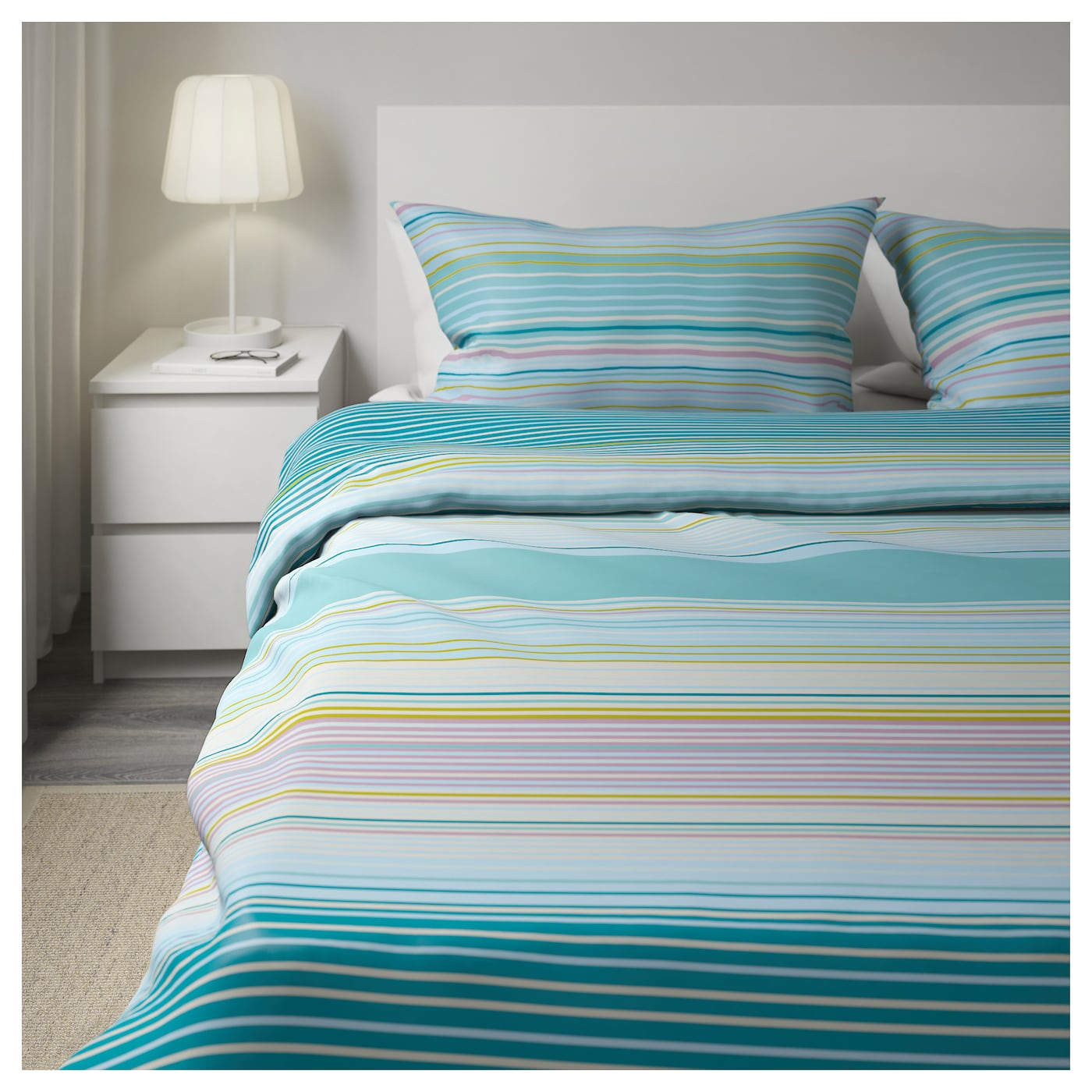 palmlilja quilt cover and 4 pillowcases turquoise 200x200 50x80 cm ikea. Black Bedroom Furniture Sets. Home Design Ideas