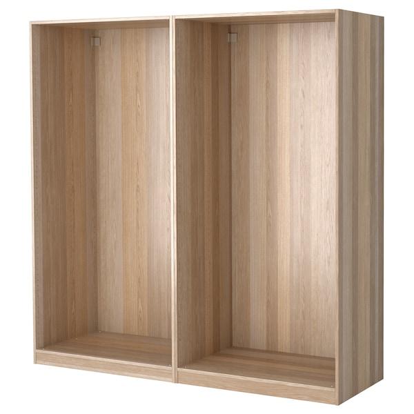 PAX 2 wardrobe frames, white stained oak, 200x58x201 cm