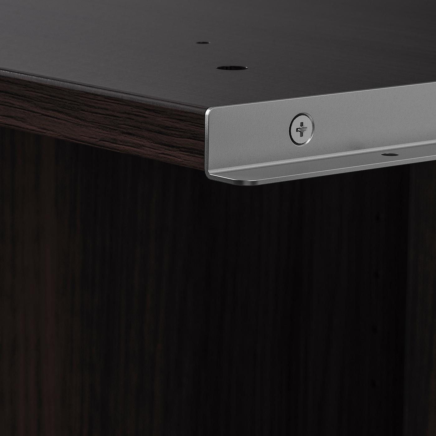 PAX Add-on corner unit with 4 shelves, black-brown, 53x58x201 cm