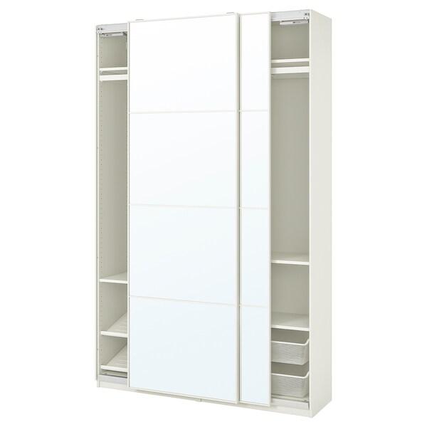 PAX / AULI Wardrobe combination, white/mirror glass, 150x44x236 cm