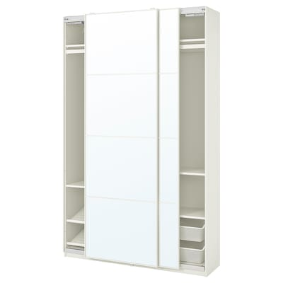 PAX / AULI Wardrobe combination, white/mirror glass, 150x44x236 cm