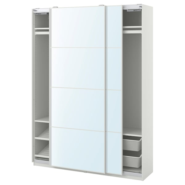 PAX / AULI Wardrobe combination, white/mirror glass, 150x44x201 cm