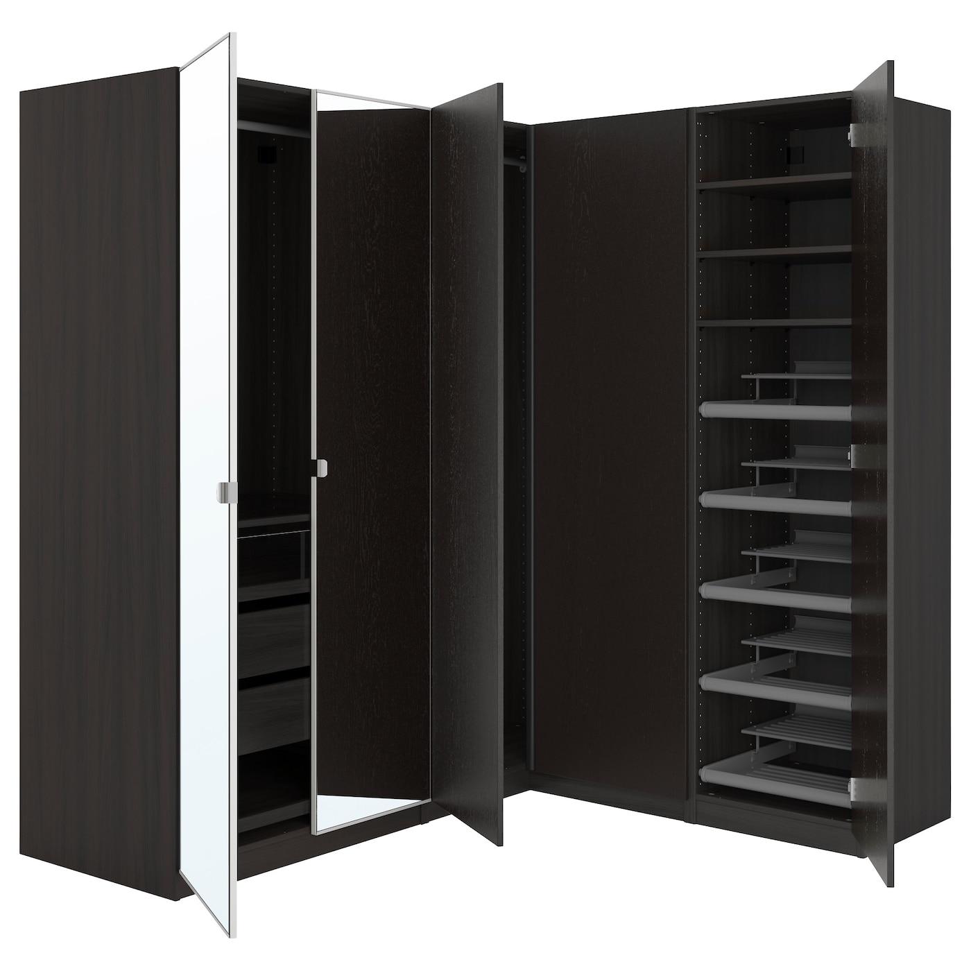 pax corner wardrobe black brown nexus vikedal 210 160 x 201 cm ikea. Black Bedroom Furniture Sets. Home Design Ideas