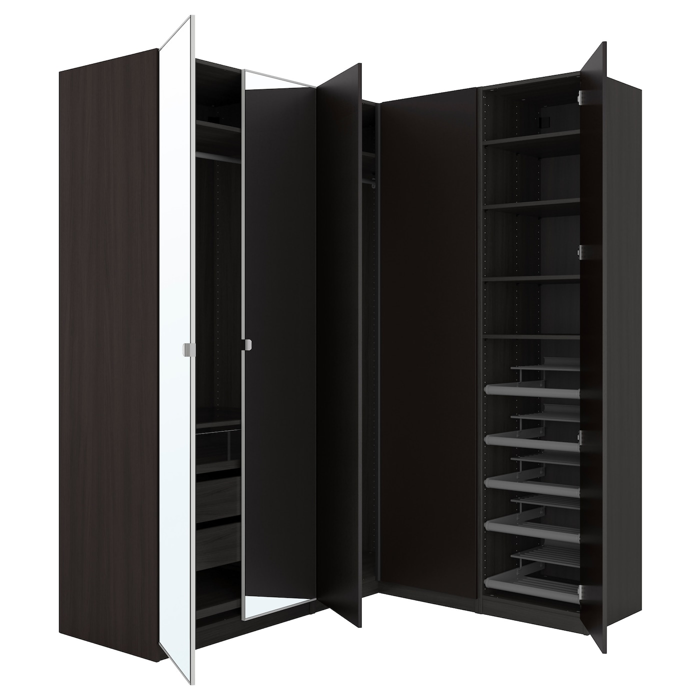 pax corner wardrobe black brown nexus vikedal 210 160x236. Black Bedroom Furniture Sets. Home Design Ideas