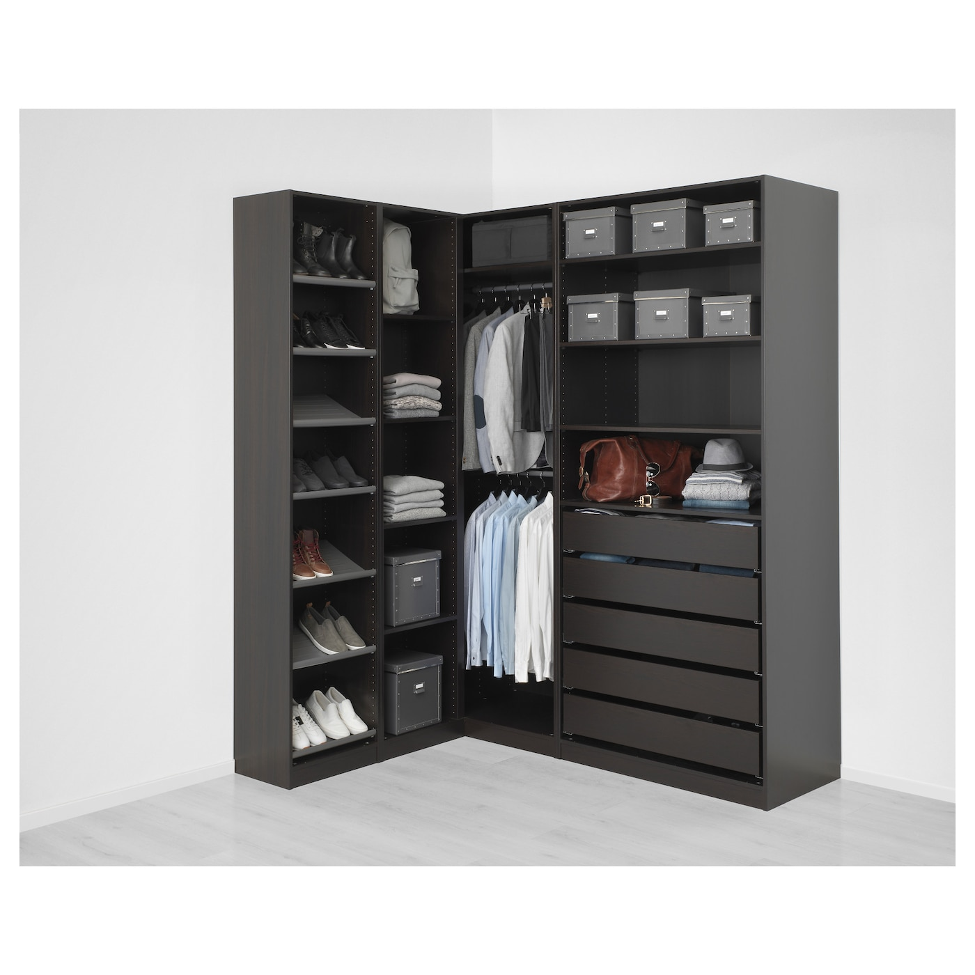 pax corner wardrobe black brown 160 188 x 236 cm ikea. Black Bedroom Furniture Sets. Home Design Ideas