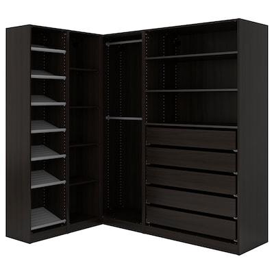PAX Corner wardrobe, black-brown, 160/188x201 cm