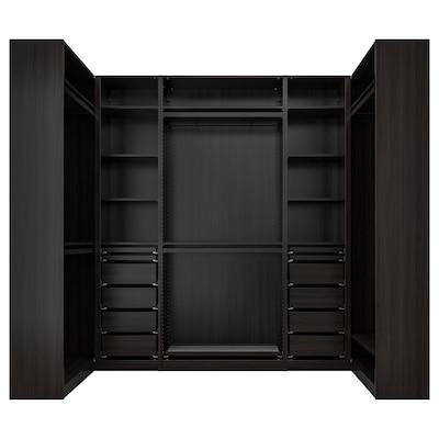 PAX Corner wardrobe, black-brown, 113/276/113x236 cm