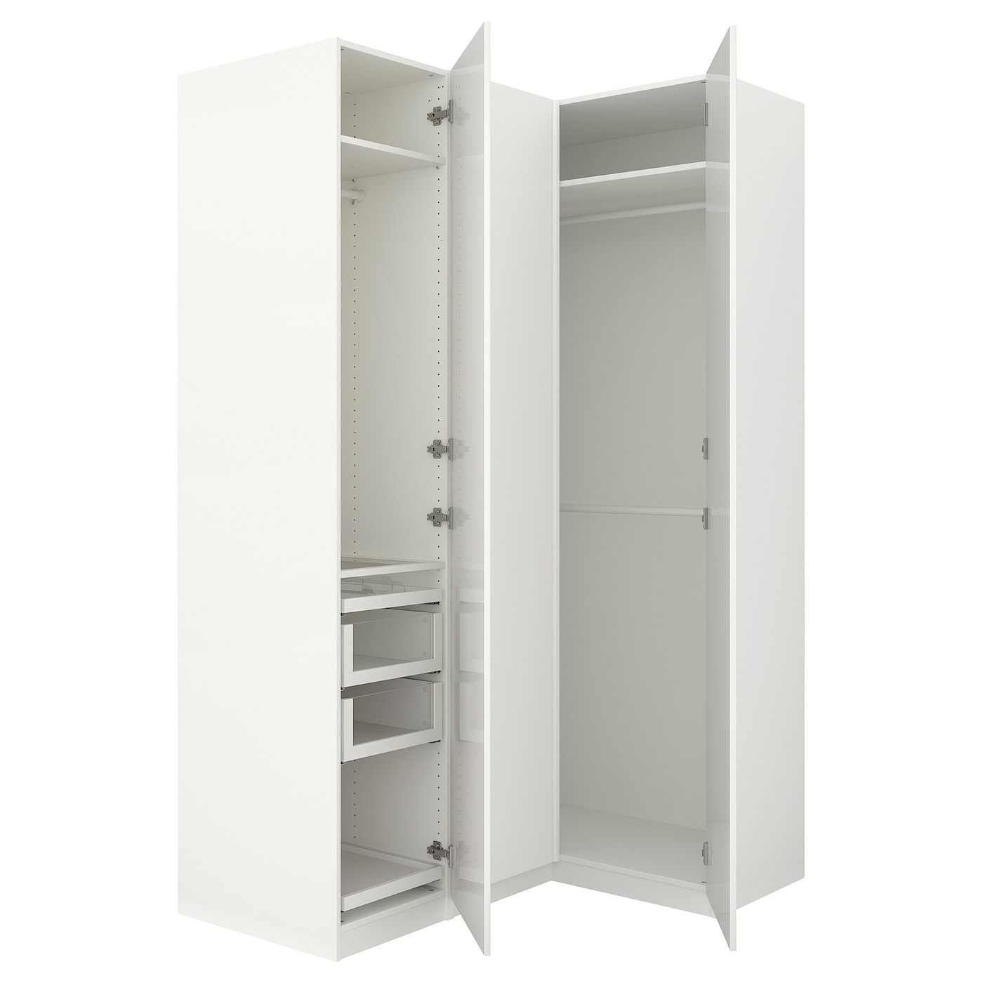 pax corner wardrobe white fardal high gloss white 160. Black Bedroom Furniture Sets. Home Design Ideas