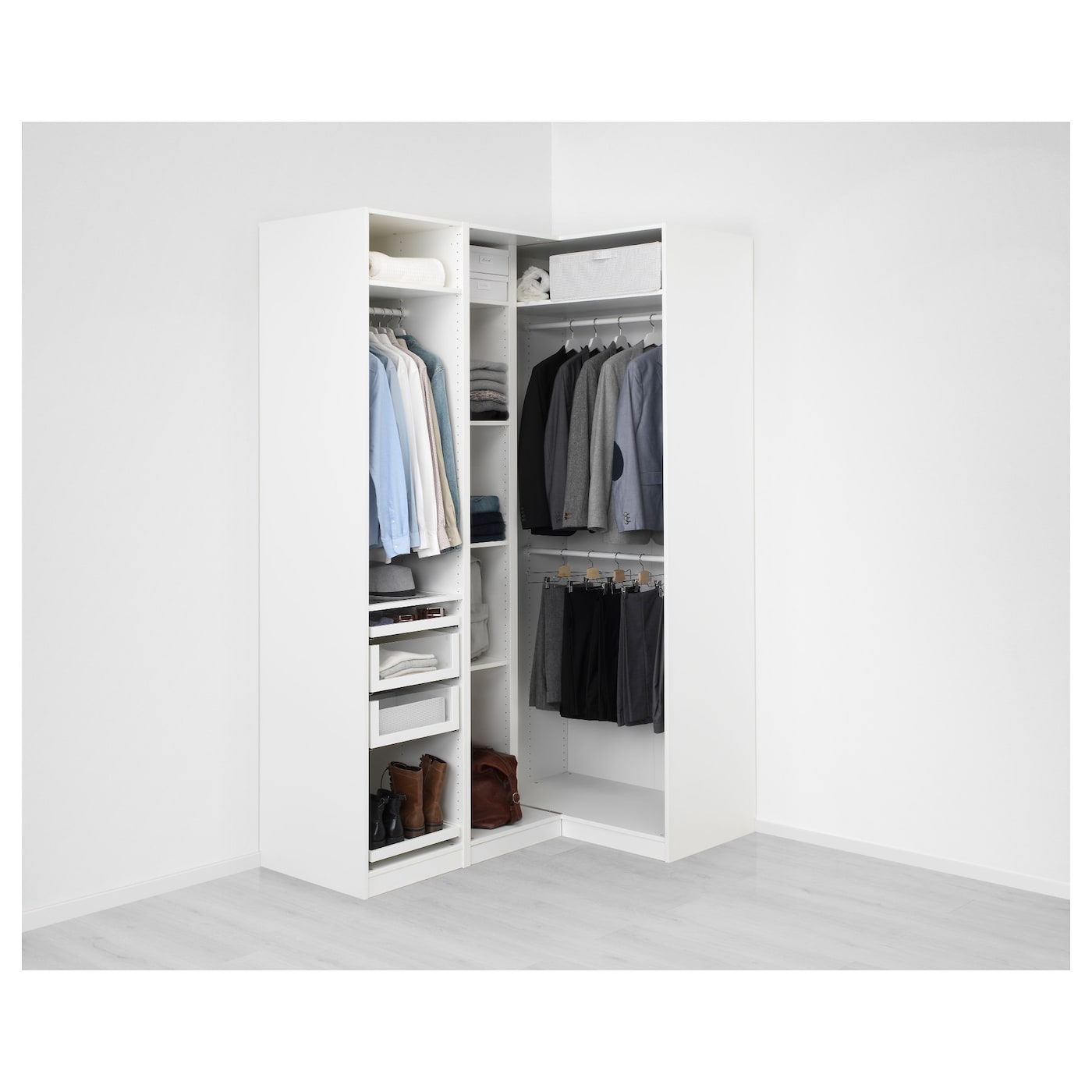 Pax Corner Wardrobe White Fardal High Gloss White 160 111