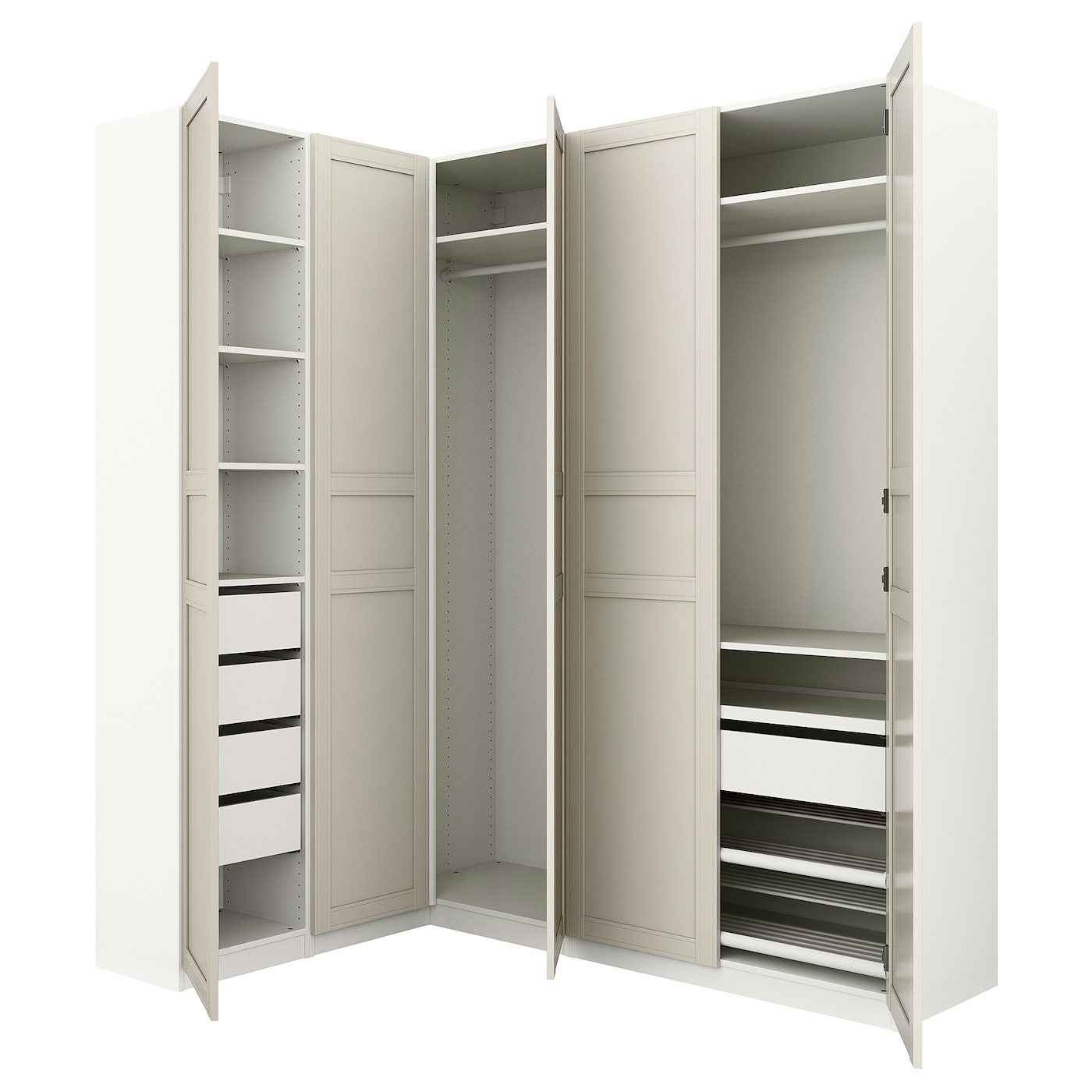 pax corner wardrobe white flisberget light beige 160 188 x 236 cm ikea. Black Bedroom Furniture Sets. Home Design Ideas