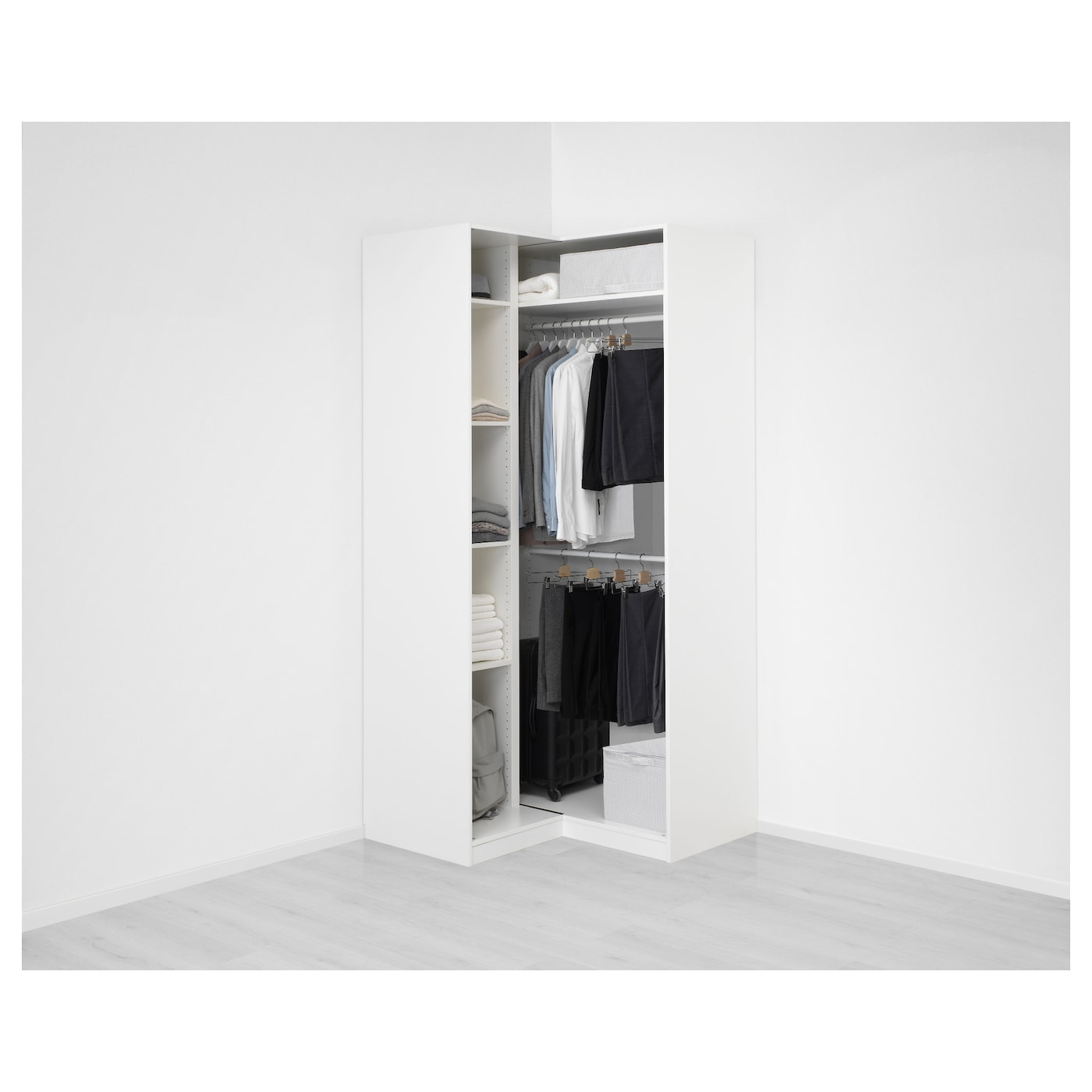 pax corner wardrobe white grimo white 111 111 x 236 cm ikea. Black Bedroom Furniture Sets. Home Design Ideas