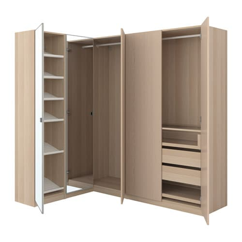 pax corner wardrobe white stained oak effect nexus vikedal