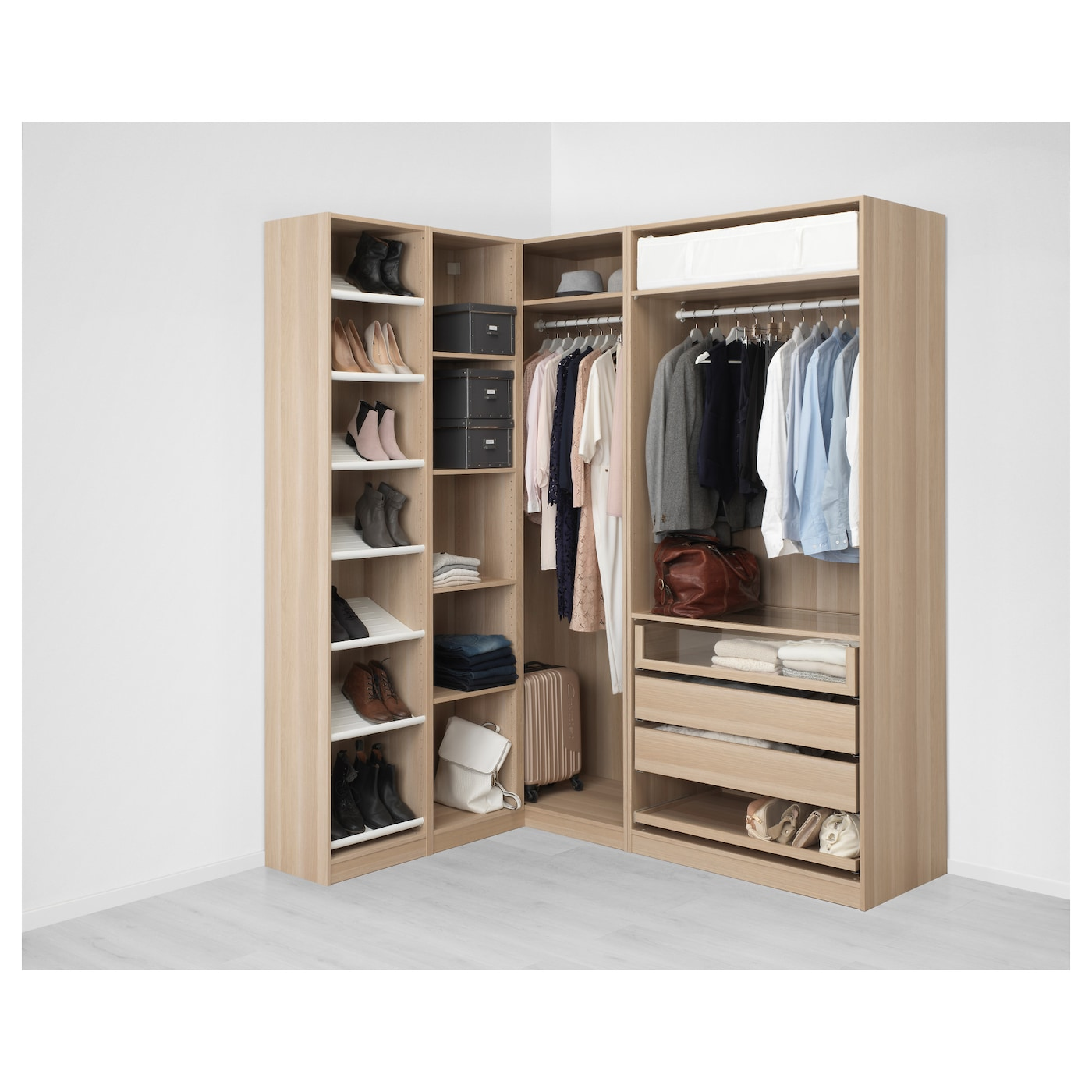 Pax corner wardrobe white stained oak effect nexus vikedal 160 188 x 236 cm ikea for Creation armoire ikea