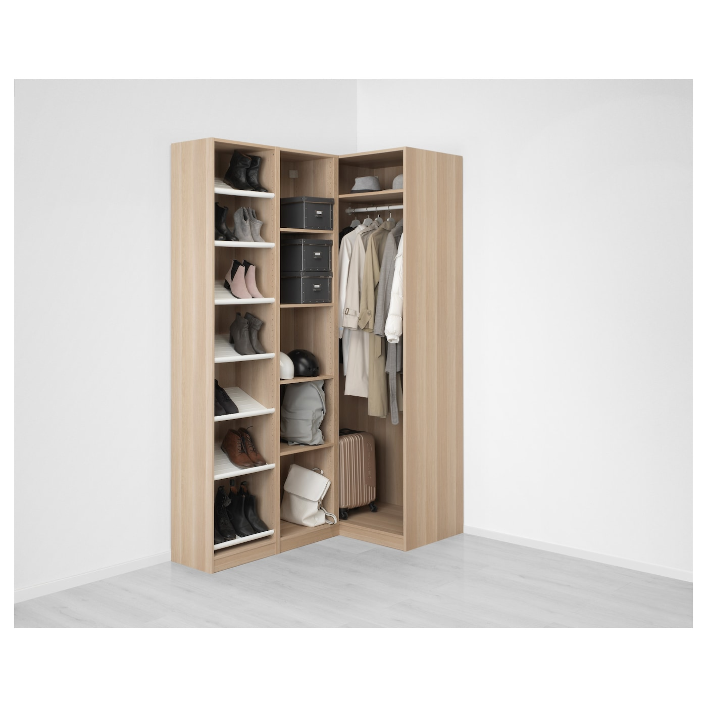 pax corner wardrobe white stained oak effect nexus vikedal 160 88 x 236 cm ikea. Black Bedroom Furniture Sets. Home Design Ideas