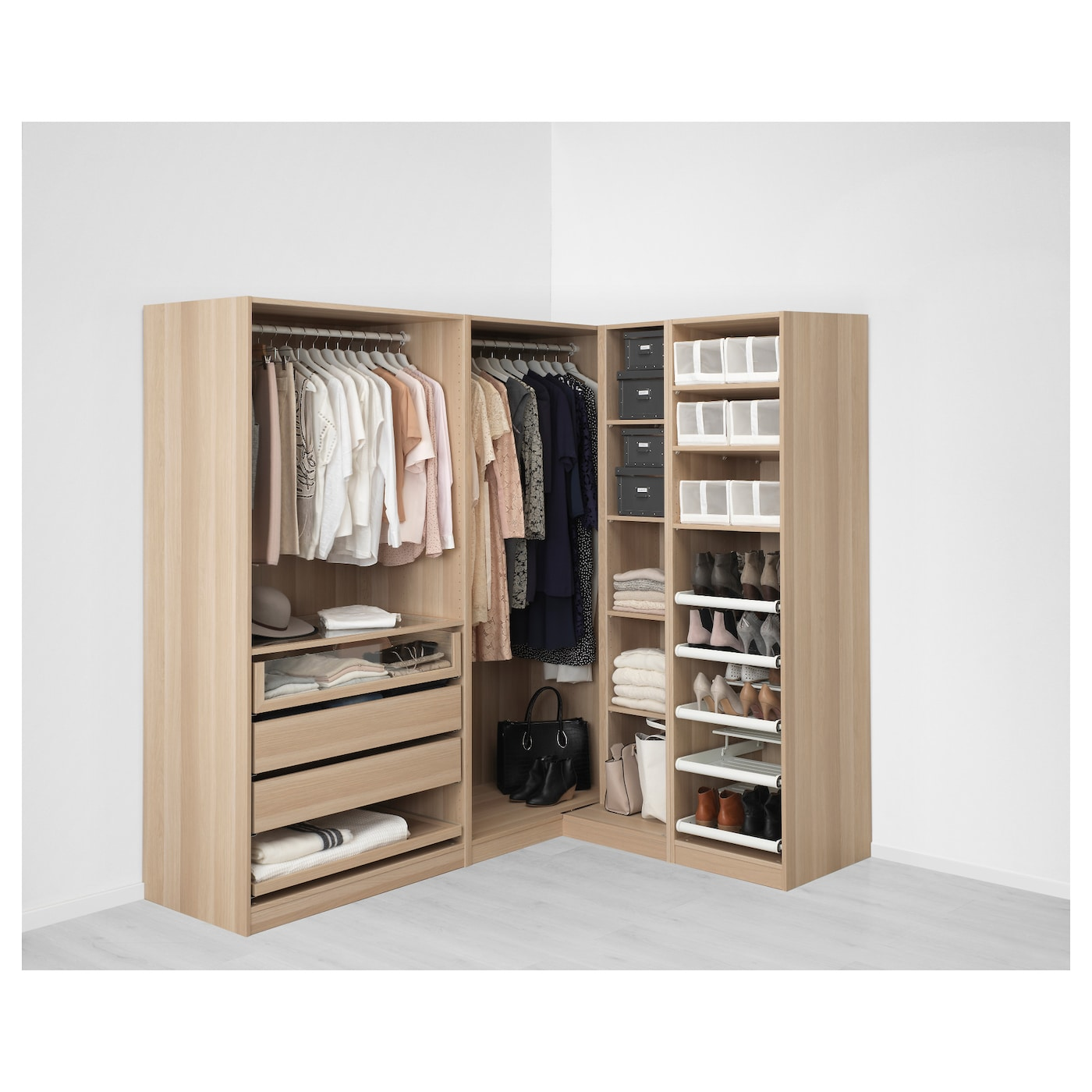 pax corner wardrobe white stained oak effect nexus vikedal. Black Bedroom Furniture Sets. Home Design Ideas