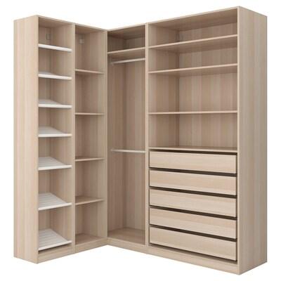 PAX Corner wardrobe, white stained oak effect, 160/188x236 cm