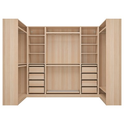 PAX Corner wardrobe, white stained oak effect, 113/276/113x201 cm