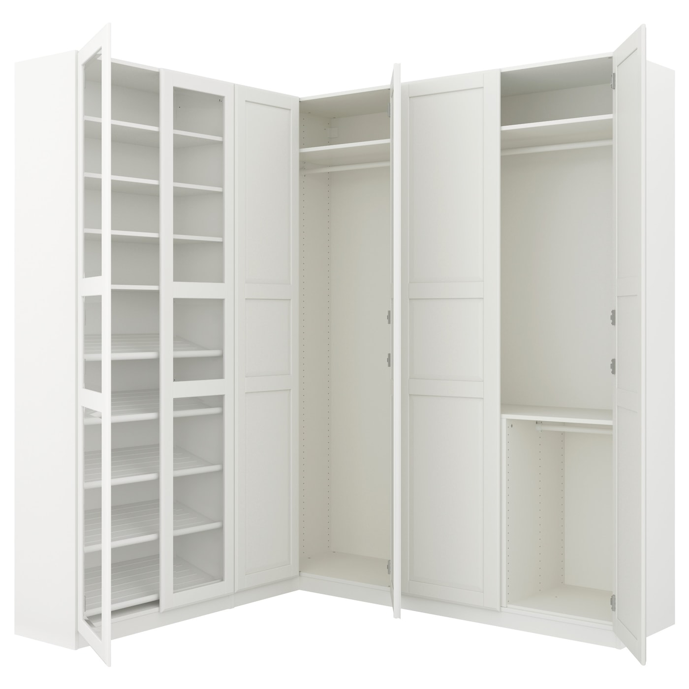 pax corner wardrobe white tyssedal tyssedal glass 210. Black Bedroom Furniture Sets. Home Design Ideas