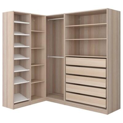PAX corner wardrobe white stained oak effect 201.2 cm 187.8 cm 160.3 cm
