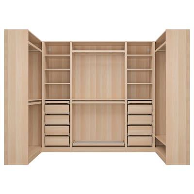 PAX corner wardrobe white stained oak effect 275.8 cm 201.2 cm 112.9 cm 112.9 cm