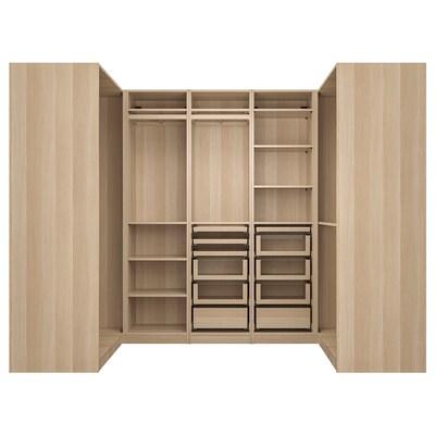 PAX corner wardrobe white stained oak effect 270.8 cm 201.2 cm 112.9 cm 112.9 cm