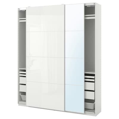 PAX / FÄRVIK/AULI Wardrobe combination, white/white glass mirror glass, 200x44x236 cm