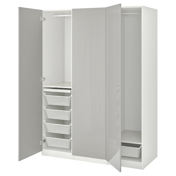 PAX / FARDAL Wardrobe combination, white/high-gloss light grey, 150x60x201 cm