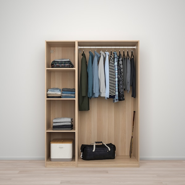 PAX / FORSAND/VIKEDAL wardrobe combination white stained oak effect/mirror glass 150.0 cm 60.0 cm 201.2 cm