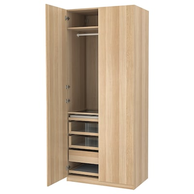 PAX / FORSAND Wardrobe combination, white stained oak effect/white stained oak effect, 100x60x236 cm