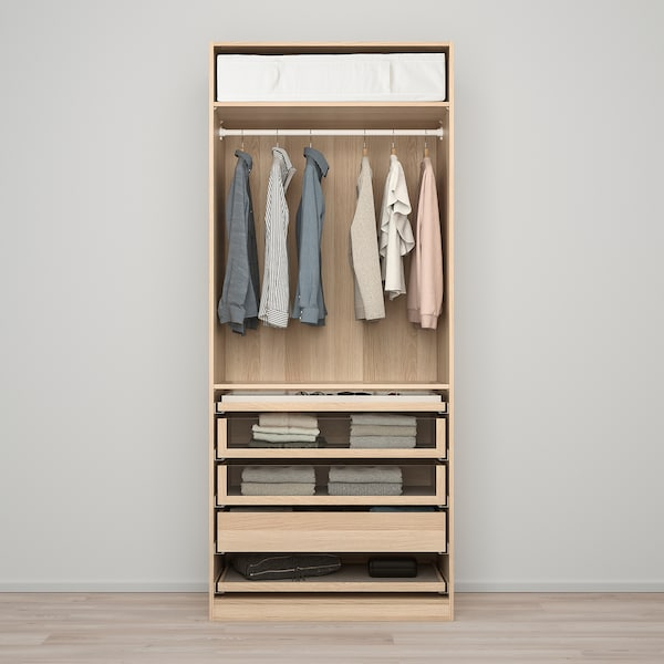 PAX / FORSAND wardrobe combination white stained oak effect/white stained oak effect 100.0 cm 60.0 cm 236.4 cm