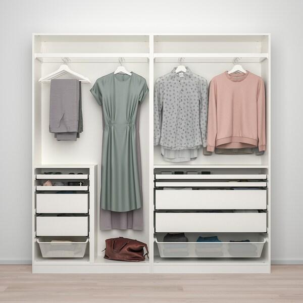 PAX / HASVIK Wardrobe combination, white/high-gloss white, 200x44x201 cm